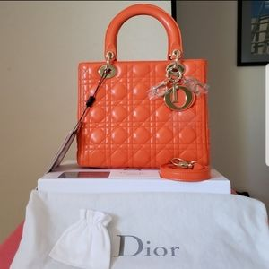 New Lady Dior Orange Lambskin medium bag